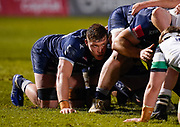 Sale Sharks flanker Cobus Wiese  in a scrum during a Gallagher Premiership Round 12 Rugby Union match, Friday, Mar 05, 2021, in Eccles, United Kingdom. (Steve Flynn/Image of Sport)