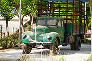 Vintage Dodge truck on Display Photographed at Hiriya waste dump located southeast of Tel Aviv, Israel.