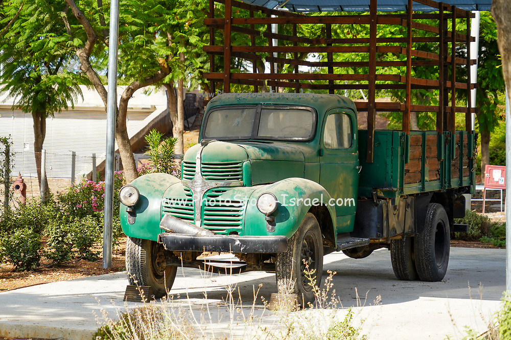 Vintage Dodge truck on Display Photographed at Hiriya waste dump located southeast of Tel Aviv, Israel.