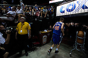 Kristaps Porzingis #46 of the New York Knicks goes into the locker room during halftime against the San Antonio Spurs during an NBA Summer League game in Las Vegas, Nevada on July 11, 2015. (Cooper Neill for The New York Times)