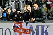 Wimbledon fans at half time during the EFL Sky Bet League 1 match between Bristol Rovers and AFC Wimbledon at the Memorial Stadium, Bristol, England on 23 October 2018.