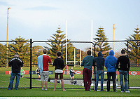 10 June 2013; Spectators watch the British & Irish Lions closed captain's run ahead of their game against Combined Country on Tuesday. British & Irish Lions Tour 2013, Captain's Run, Number 2 Sports Ground, Newcastle, NSW, Australia. Picture credit: Stephen McCarthy / SPORTSFILE