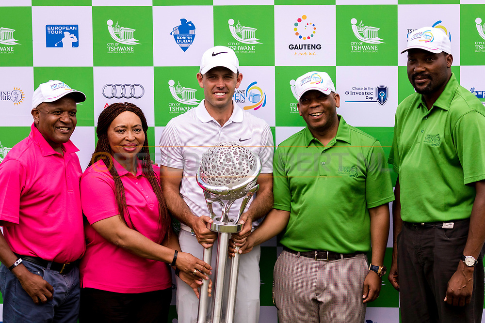 14-02-2016 -  Golffoto's: Tshwane Open 2016: Charl Schwartzel tijdens de prijsuitreiking. Genomen tijdens het Tshwane Open South Africa 2016 op de Pretoria Country Club in Waterkloof, Zuid-Afrika.