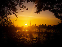 Toronto skyline at sunset viewed from Tommy Thomson Park.