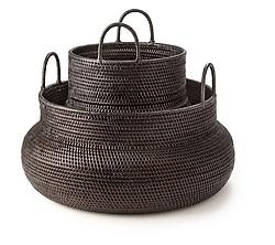 Dark brown tight weave baskets