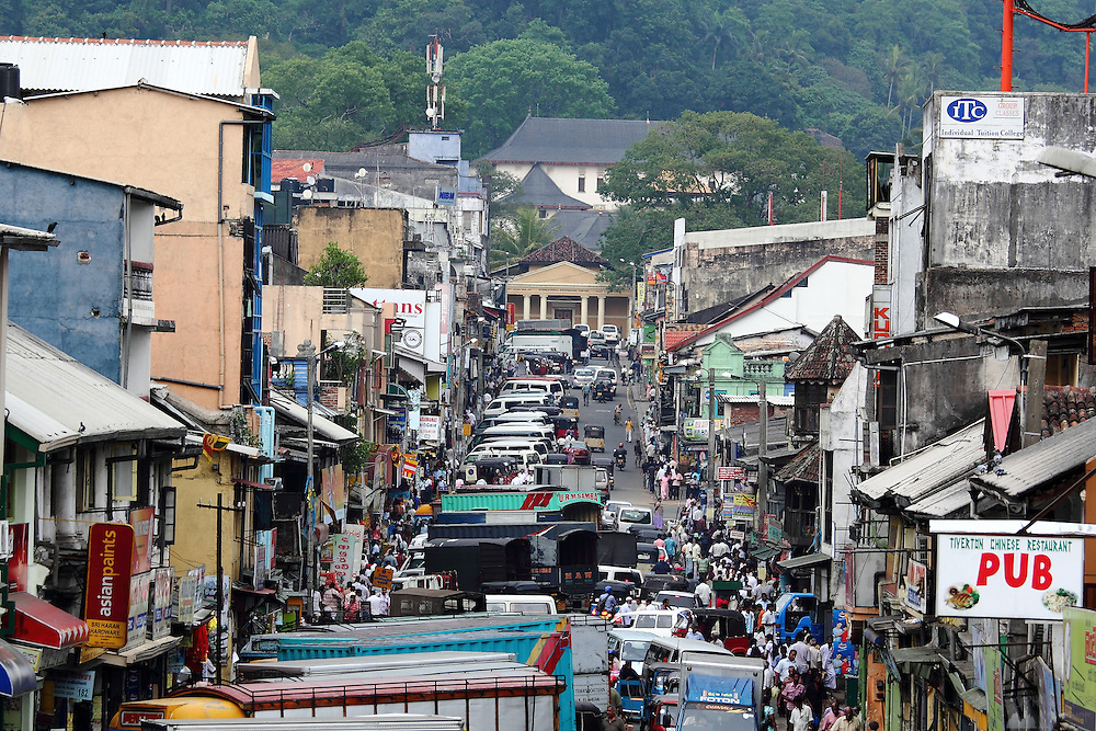 A busy street view of central Kandy, Sri Lanka's second-largest city.