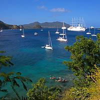France, Guadeloupe, Les Saintes. Saillng and yachting bay of Les Saintes on Terre-de-Haut island, Guadeloupe.