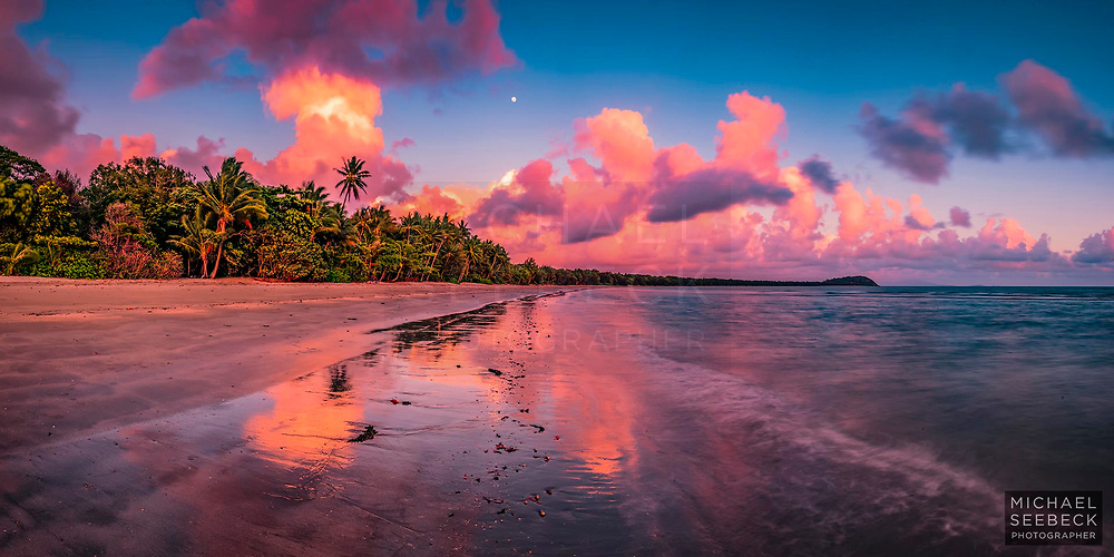 A superlative sunrise on Four Mile Beach, with the setting full moon.<br /> <br /> Code: BAQT0056<br /> <br /> Limited Edition Print of 125<br /> <br /> Add to cart to view options