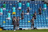 Leeds United manager Marcelo Bielsa and his staff observe a minute's silence for the late Jack Charlton<br /> <br /> Photographer Alex Dodd/CameraSport<br /> <br /> The EFL Sky Bet Championship - Leeds United v Barnsley - Thursday 16th July 2020 - Elland Road - Leeds<br /> <br /> World Copyright © 2020 CameraSport. All rights reserved. 43 Linden Ave. Countesthorpe. Leicester. England. LE8 5PG - Tel: +44 (0) 116 277 4147 - admin@camerasport.com - www.camerasport.com
