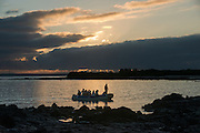 Sunrise at Bachas Beach With Panga<br /> Santa Cruz<br /> Galapagos<br /> Ecuador, South America