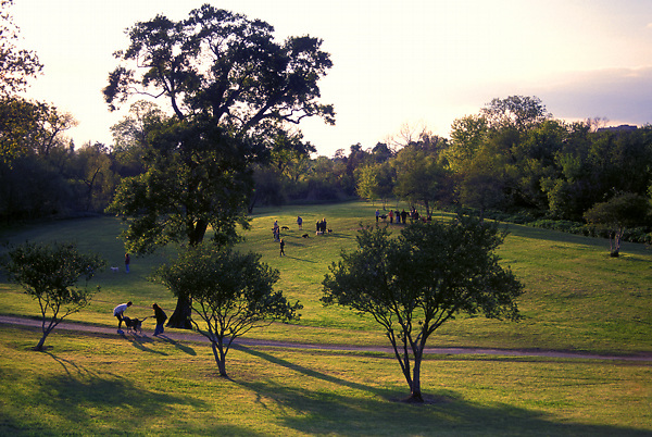Stock photo of the dog park at Buffalo Bayou Park in Houston Texas