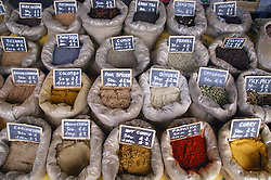 Herbs and spices on a market stall,