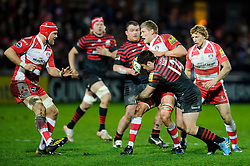 Gloucester Lock (#5) James Hudson is tackled by Saracens Inside Centre (#12) Brad Barritt during the second half of the match - Photo mandatory by-line: Rogan Thomson/JMP - Tel: Mobile: 07966 386802 - 04/01/2014 - SPORT - RUGBY UNION - Kingsholm Stadium, Gloucester - Gloucester Rugby v Saracens - Aviva Premiership.