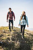 Jules Jimreivat and Chris Call hiking in the foothills above Salt Lake City, Utah.