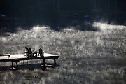 Mist rising off of Pine Lake in Sammamish in the early morning light. (Steve Ringman / The Seattle Times)