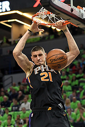 December 16, 2017 - Minneapolis, MN, USA - The Phoenix Suns' Alex Len (21) dunks in the first half against the Minnesota Timberwolves on Saturday, Dec. 16, 2017, at Target Center in Minneapolis. (Credit Image: © Aaron Lavinsky/TNS via ZUMA Wire)