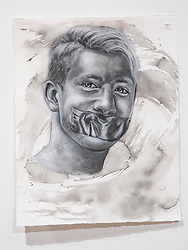 April 26, 2018 - Tampa, Florida, U.S. - A charcoal portrait of Parkland victim Nicolas Dworet, by Symone Hall in the BFA show at the Scarfone/Hartley Gallery at the University of Tampa, on April 26, 2018 in Tampa, Fla. (Credit Image: © Monica Herndon/Tampa Bay Times via ZUMA Wire)