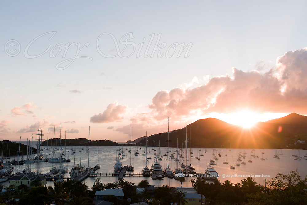 Falmouth Harbour at sunset.