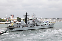 © under license to London News Pictures.  23/05/2011 HMS Gloucester flies her 'Paying Off Pennant' as she returns for the final time to Portsmouth after taking part in exercise 'Saxon Warrior'. Picture credit should read: Bryan Moffat/London News Pictures