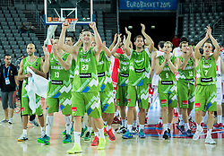 Players of Slovenia celebrate after winning during basketball match between Slovenia and Georgia at Day 2 in Group C of FIBA Europe Eurobasket 2015, on September 6, 2015, in Arena Zagreb, Croatia. Photo by Vid Ponikvar / Sportida