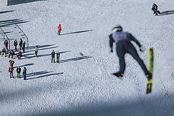 01.01.2021, Olympiaschanze, Garmisch Partenkirchen, GER, FIS Weltcup Skisprung, Vierschanzentournee, Garmisch Partenkirchen, Einzelbewerb, Herren, im Bild einige Menschen im Stadion, Simon Ammann (SUI) als Vorspringer // few People in the stadium Simon Ammann of Switzerland as Forejumper during the men's individual competition for the Four Hills Tournament of FIS Ski Jumping World Cup at the Olympiaschanze in Garmisch Partenkirchen, Germany on 2021/01/01. EXPA Pictures © 2020, PhotoCredit: EXPA/ JFK