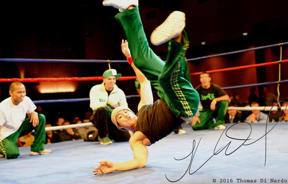 Break-Dancers perform between boxing matches at the Meidenbauer Center in Bellevue, WA on December 13, 2008.