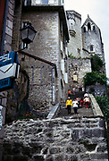 Historic religious buildings in cliff-top village of Rocamadour, France 1971