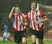 Photo. Andrew Unwin.<br /> Sunderland v Birmingham City, FA Cup Fifth Round, Stadium of Light, Sunderland 14/02/2004.<br /> Sunderland's Kevin Kyle (r) and John Oster (l) celebrate Kyle's equaliser.