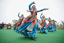 April 29, 2019 - Beijing, China -  Actresses of the Ulan Muqir troupe of Inner Mongolia Bureau of National Art Troupes perform at the Inner Mongolia Garden of the International Horticultural Exhibition 2019 Beijing in Yanqing District of Beijing. The expo opened to the public on Monday. (Credit Image: © Cai Yang/Xinhua via ZUMA Wire)