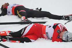 Bernhard Gruber of Austria exhausted at Nordic Combined Individual Gundersen NH, 10 km, at FIS Nordic World Ski Championships Liberec 2008, on February 22, 2009, in Vestec, Liberec, Czech Republic. (Photo by Vid Ponikvar / Sportida)
