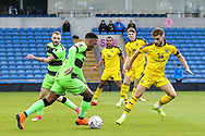 Forest Green Rovers Tahvon Campbell(14) runs into the box during the The FA Cup 1st round match between Oxford United and Forest Green Rovers at the Kassam Stadium, Oxford, England on 10 November 2018.
