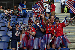 June 28, 2019 - Paris, France - Supporters of USA during the 2019 FIFA Women's World Cup France Quarter Final match between France and USA at Parc des Princes on June 28, 2019 in Paris, France. (Credit Image: © Jose Breton/NurPhoto via ZUMA Press)