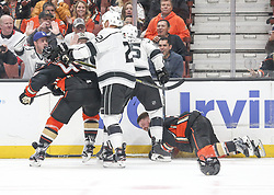 November 7, 2017 - Los Angeles, California, U.S - Los Angeles Kings players and Anaheim Ducks players fight during a 2017-2018 NHL hockey game in Anaheim, California on Nov. 7, 2017. Los Angeles Kings won 4-3 in overtime. (Credit Image: © Ringo Chiu via ZUMA Wire)