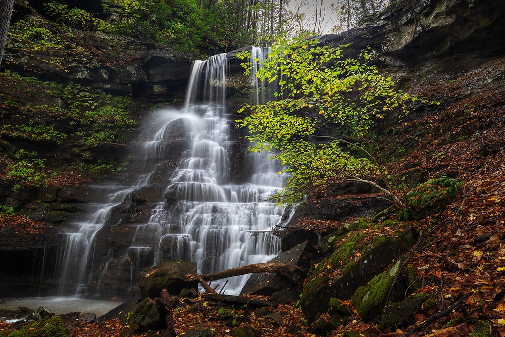 White Oak Creek falls is seen flowing before it spills into the Bluestone National Scenic River, part of the Brush Creek Nature Preserve in West Virginia.
