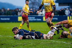 Bristol Rugby Hooker Chris Brooker (capt) scores a try - Mandatory byline: Rogan Thomson/JMP - 17/01/2016 - RUGBY UNION - Clifton Rugby Club - Bristol, England - Scarlets Premiership Select XV v Bristol Rugby - B&I Cup.