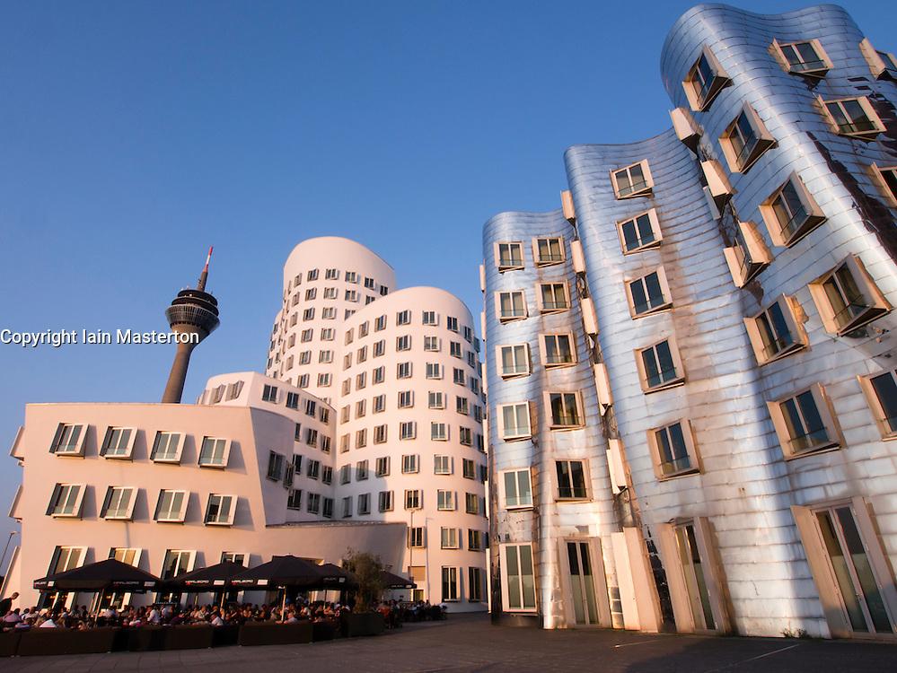 Neuer Zollhof buildings designed by Frank Gehry in Medianhafen in Dusseldorf Germany
