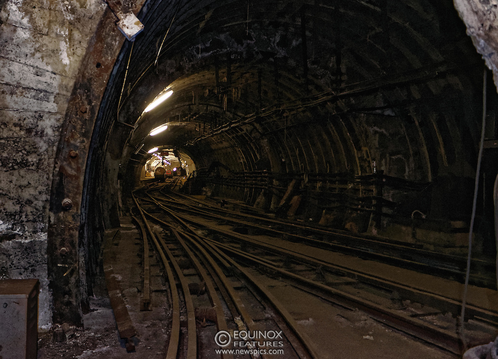 London, United Kingdom - 3 February 2016<br /> PICTURE EXCLUSIVE - The disused Mail Rail underground rail lines and station pictured beneath Mount Pleasant sorting office. Work has commenced on The Postal Museum which will open in 2017 and be located next to Mount Pleasant sorting office in Clerkenwell, London, England, UK. Visitors to the museum will be able to ride on a train on the famous Mail Rail underground rail line. The underground Mail Rail was used for mail distribution to avoid road congestion until 2003 when the lines were closed. Among the supporters of The Postal Museum are Royal Mail, Post Office and the Heritage Lottery Fund.<br /> (photo by: HAUSARTS / EQUINOXFEATURES.COM)<br /> Picture Data:<br /> Copyright: ©2016 Equinox Licensing Ltd. +448700 780000<br /> Contact: Equinox Features<br /> Date Taken: 20160203<br /> Time Taken: 18200236<br /> www.newspics.com