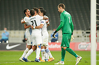 ATHENS, GREECE - OCTOBER 11: Greek players celebrate the first goal of Greece during the UEFA Nations League group stage match between Greece and Moldova at OACA Spyros Louis on October 11, 2020 in Athens, Greece. (Photo by MB Media)