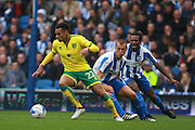 Norwich City midfielder Jacob Murphy gets the better of Brighton & Hove Albion central midfielder Steve Sidwell & Brighton & Hove Albion full back Gaetan Bongduring the EFL Sky Bet Championship match between Brighton and Hove Albion and Norwich City at the American Express Community Stadium, Brighton and Hove, England on 29 October 2016. Photo by Bennett Dean.