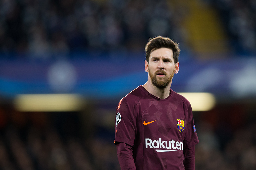 Barcelona's Lionel Messi <br /> <br /> Photographer Craig Mercer/CameraSport<br /> <br /> UEFA Champions League Round of 16 1st Leg - Chelsea v Barcelona - Tuesday 20th February 2018 - Stamford Bridge - London<br />  <br /> World Copyright © 2017 CameraSport. All rights reserved. 43 Linden Ave. Countesthorpe. Leicester. England. LE8 5PG - Tel: +44 (0) 116 277 4147 - admin@camerasport.com - www.camerasport.com