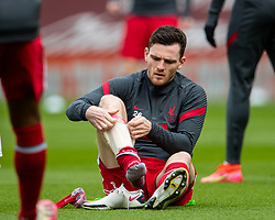 LIVERPOOL, ENGLAND - Sunday, March 7, 2021: Liverpool's Andy Robertson during the pre-match warm-up before the FA Premier League match between Liverpool FC and Fulham FC at Anfield. Fulham won 1-0 extending Liverpool's run to six consecutive home defeats. (Pic by David Rawcliffe/Propaganda)