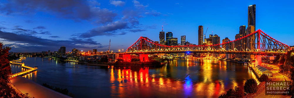 A panoramic photograph of Brisbane River the Story Bridge, and Brisbane CBD, taken at dawn.<br /> <br /> Code: HAQS0002<br /> <br /> Limited Edition of 125 Prints