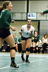 22 September 2015: Mary Rankin(4)  during an NCAA womens division 3 Volleyball match between the Augustana Vikings and the Illinois Wesleyan Titans in Shirk Center, Bloomington IL