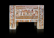 The painted Minoan Hagia Triada Sarcophagus 1370-1300 BC. Heraklion Archaeological Museum. Black Background. <br /> <br /> The limestone Hagia Triada Sarcophagus is painted with frescoes depicting the ceremonies honouring the dead. .<br /> <br /> If you prefer to buy from our ALAMY PHOTO LIBRARY  Collection visit : https://www.alamy.com/portfolio/paul-williams-funkystock/minoan-art-artefacts.html . Type -   Heraklion   - into the LOWER SEARCH WITHIN GALLERY box. Refine search by adding background colour, place, museum etc<br /> <br /> Visit our MINOAN ART PHOTO COLLECTIONS for more photos to download  as wall art prints https://funkystock.photoshelter.com/gallery-collection/Ancient-Minoans-Art-Artefacts-Antiquities-Historic-Places-Pictures-Images-of/C0000ricT2SU_M9w