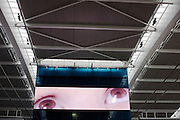 Giant screen eyes look upwads towards roof architecture in departures at Heathrow airport's terminal 5.