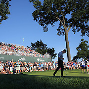 Hunter Mahan birdies the 17th during the fourth round of theThe Barclays Golf Tournament at The Ridgewood Country Club, Paramus, New Jersey, USA. 24th August 2014. Photo Tim Clayton