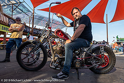 Cycle Showcase's Randall Noldge of St. Louis with his Titty Twister custom at the Rats Hole annual custom bike show in the Crossroads area of the Buffalo Chip during the Sturgis Black Hills Motorcycle Rally. SD, USA. Thursday, August 8, 2019. Photography ©2019 Michael Lichter.