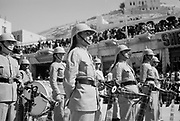 24th anniversary of Arab revolt under King Hussein & Lawrence 1940. Band of the Arab Legion lining the streets