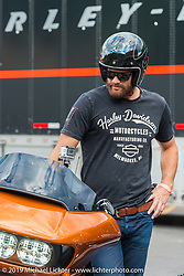 Actor Geoff Stults helped Harley-Davidson with it's reveal of the new 2015 Road Glide during Sturgis Black Hills Rally. SD, USA. August 1, 2014.  Photography ©2014 Michael Lichter.