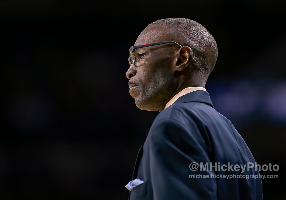SOUTH BEND, IN - NOVEMBER 08: Head coach Lance Irvin of the Chicago State Cougars is seen during the game against the Notre Dame Fighting Irish at Purcell Pavilion on November 8, 2018 in South Bend, Indiana. (Photo by Michael Hickey/Getty Images) *** Local Caption *** Lance Irvin